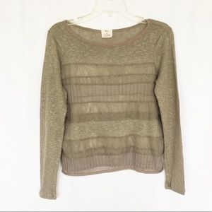 Anthropologie pins & needles tan lace knit top S